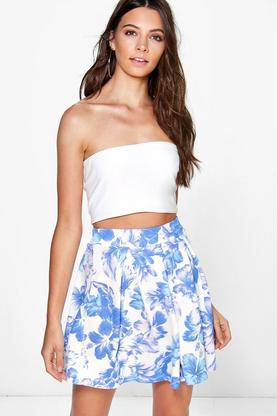 Soroya Soft Floral Box Pleat Skater Skirt