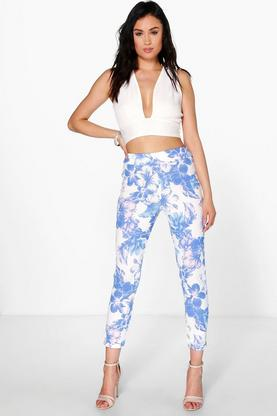 Anja Soft Floral Skinny Trousers