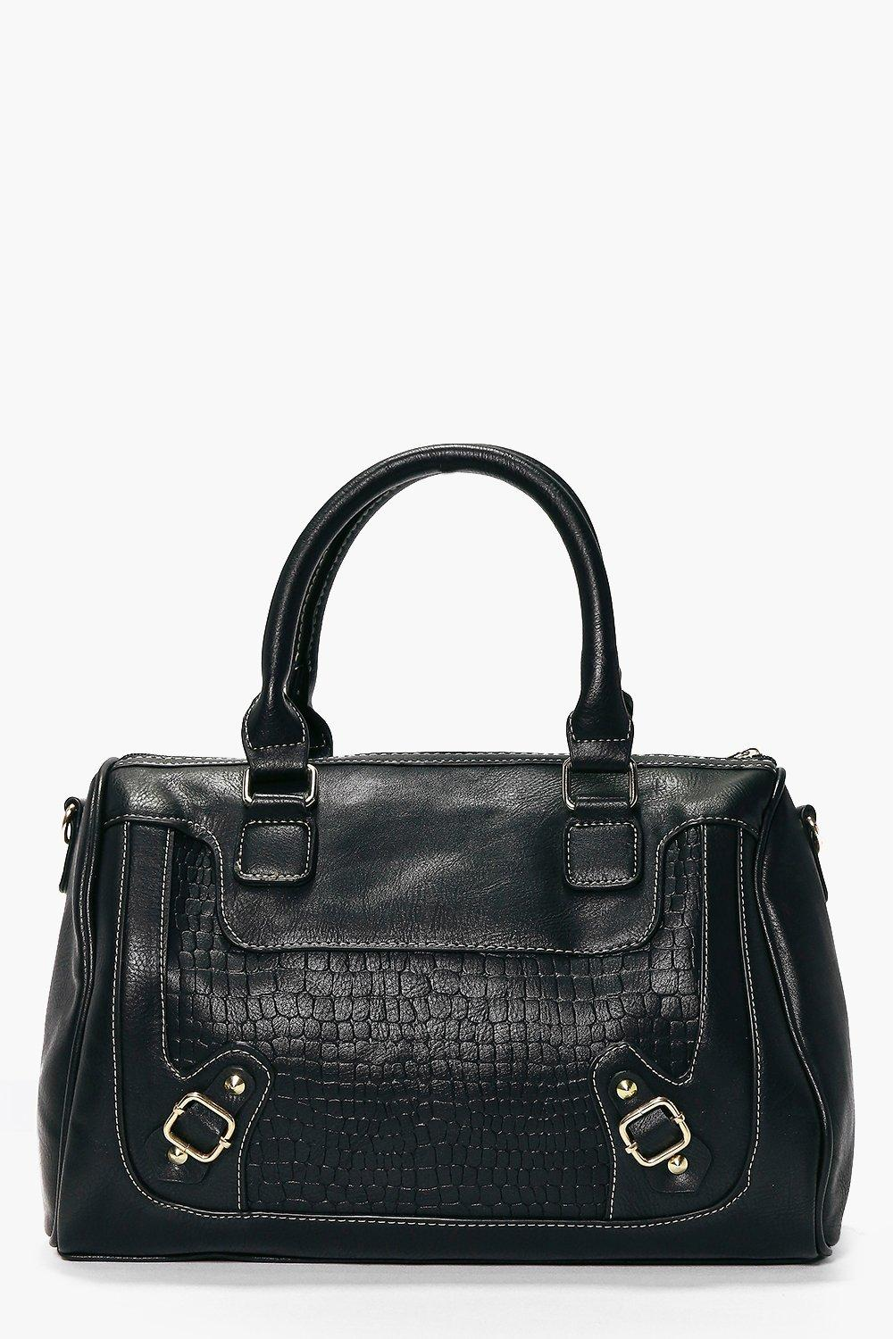 Structured Mock Croc Bowler Day Bag black
