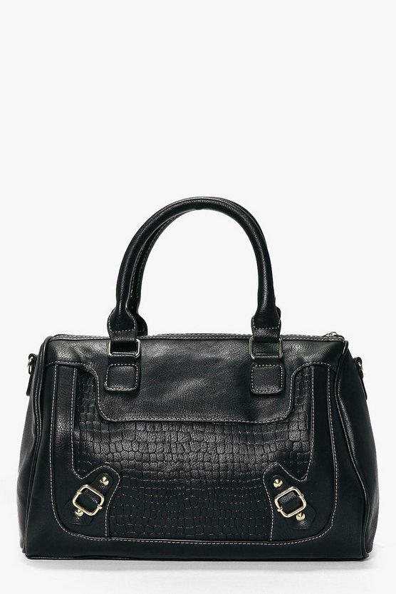 Tia Structured Mock Croc Bowler Day Bag