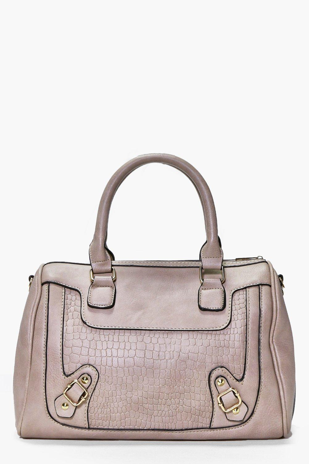 Structured Mock Croc Bowler Day Bag grey