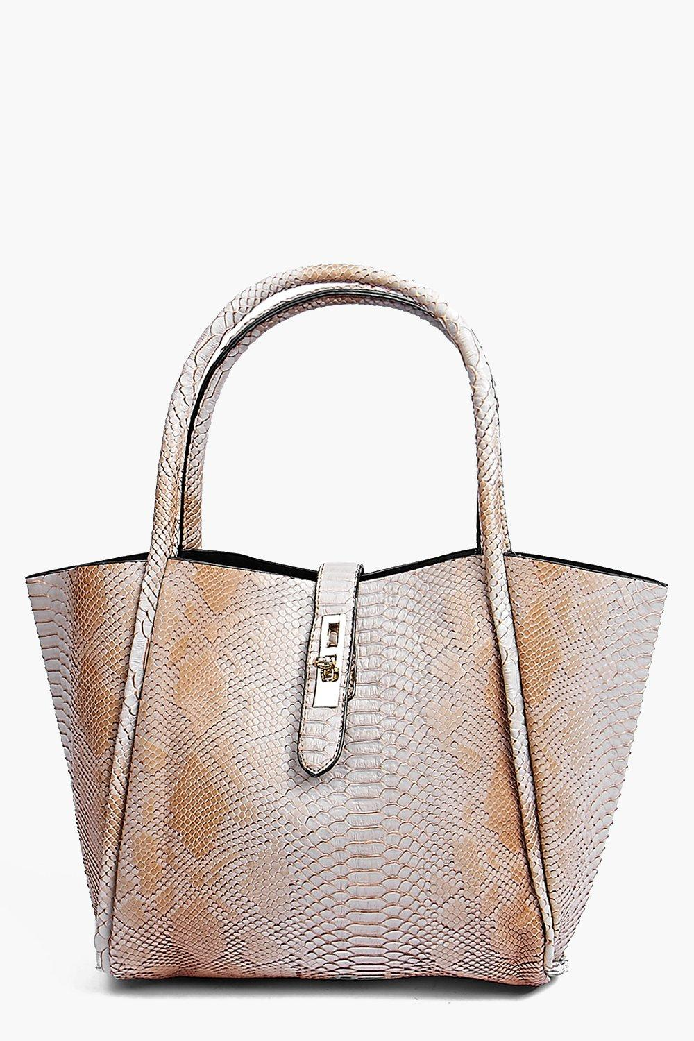 Tia Faux Snake Winged Structured Day Bag