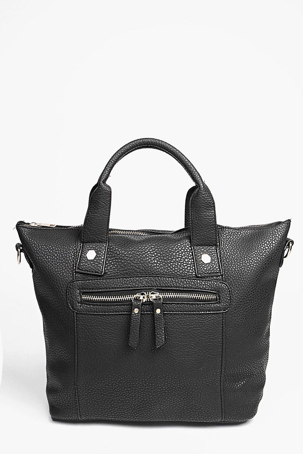 Zip Detail Winged Day Bag black