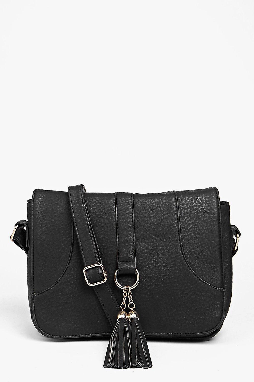 Loop And Tassel Saddle Cross Body Bag - black - Mi