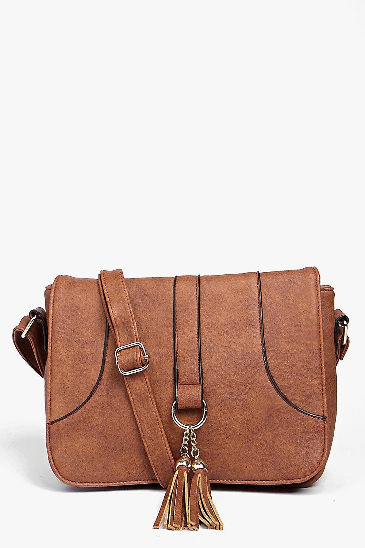Mia Loop And Tassel Saddle Cross Body Bag