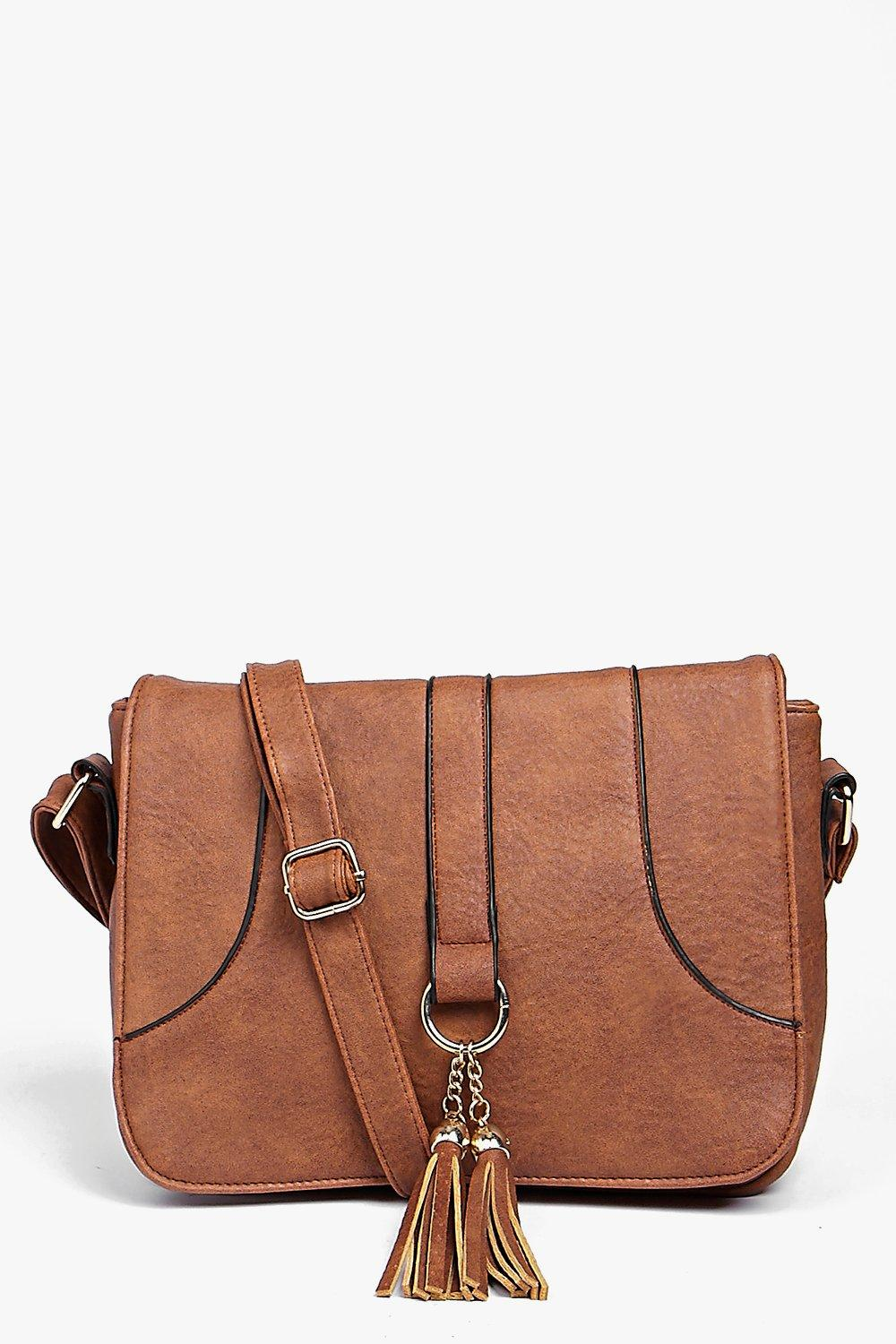 Loop And Tassel Saddle Cross Body Bag - tan - Mia