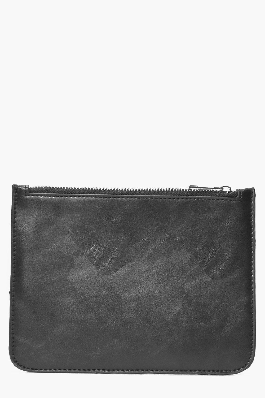 Zip Top Clutch Bag black