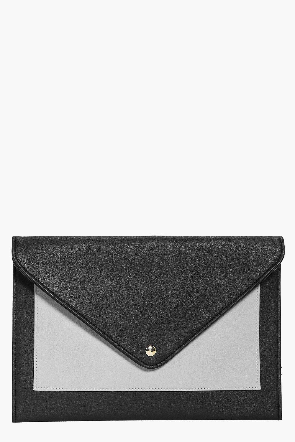 Envelope Pocket Front Clutch Bag grey
