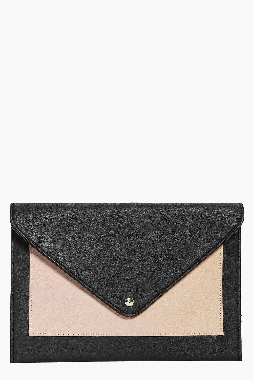 Envelope Pocket Front Clutch Bag nude