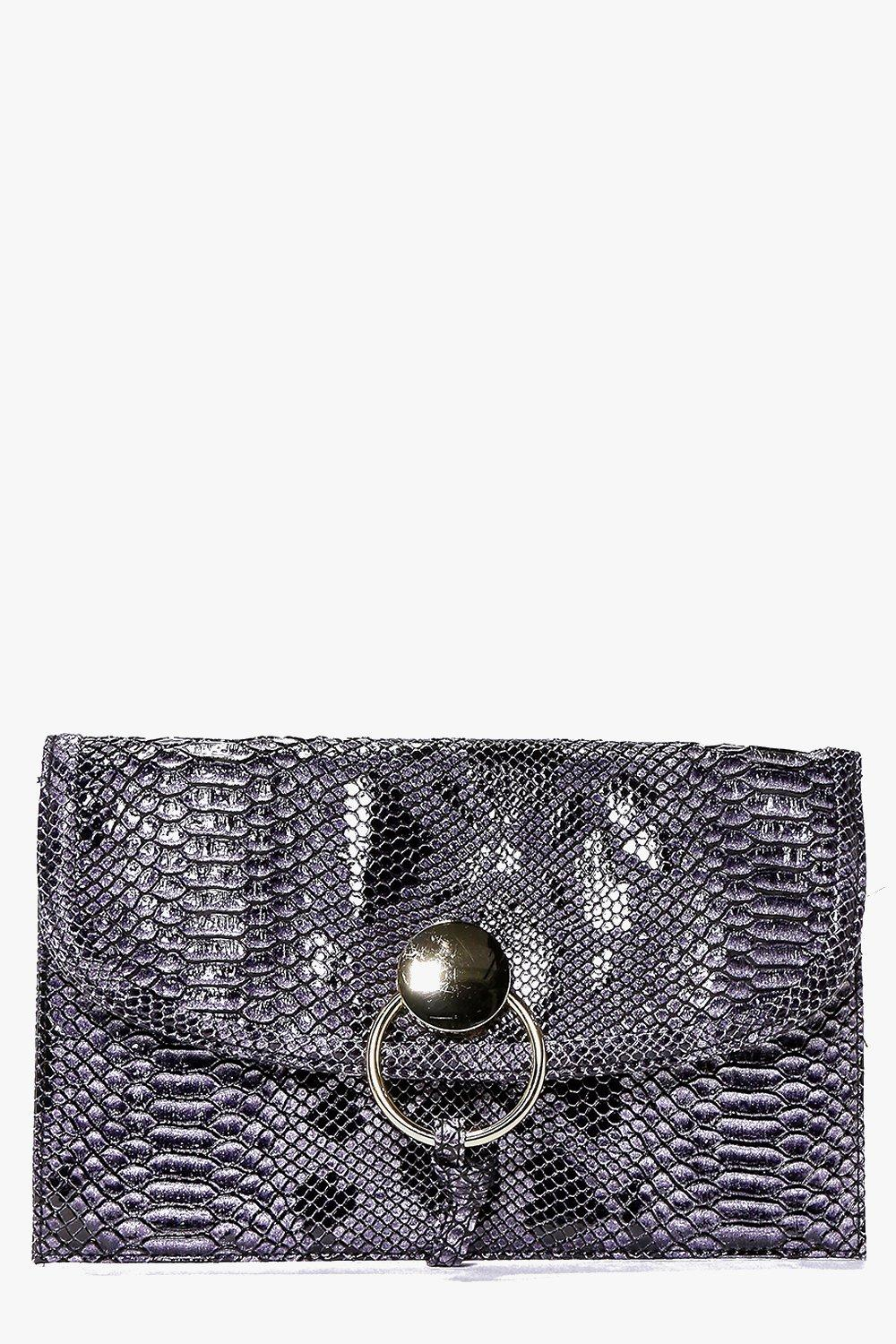 Eva Mock Croc Metal Loop Detail Clutch Bag