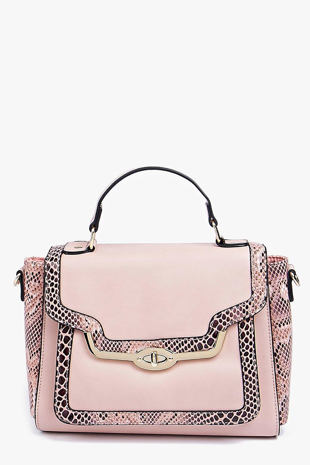 Faux Snake Metal Lock Structured Day Bag blush