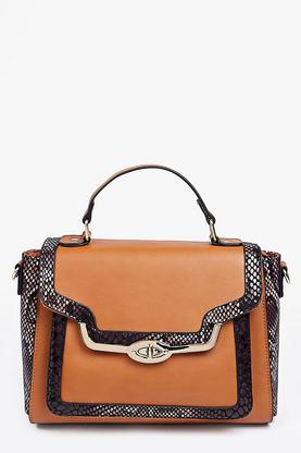 Amy Faux Snake Metal Lock Structured Day Bag