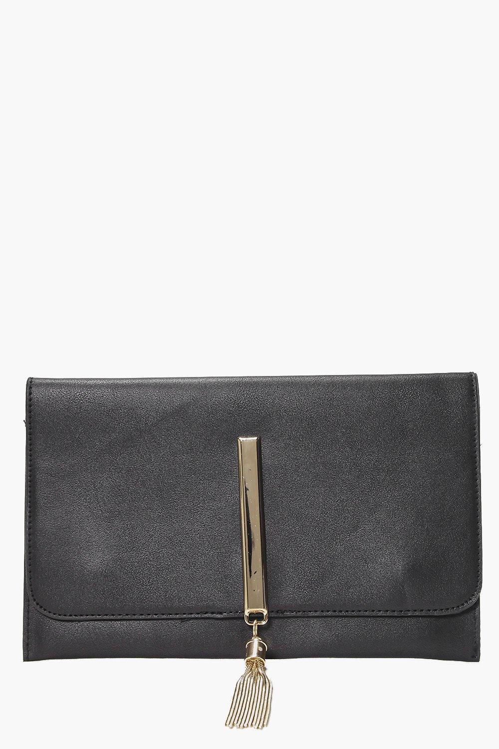 Metal Tassel Clutch Bag black