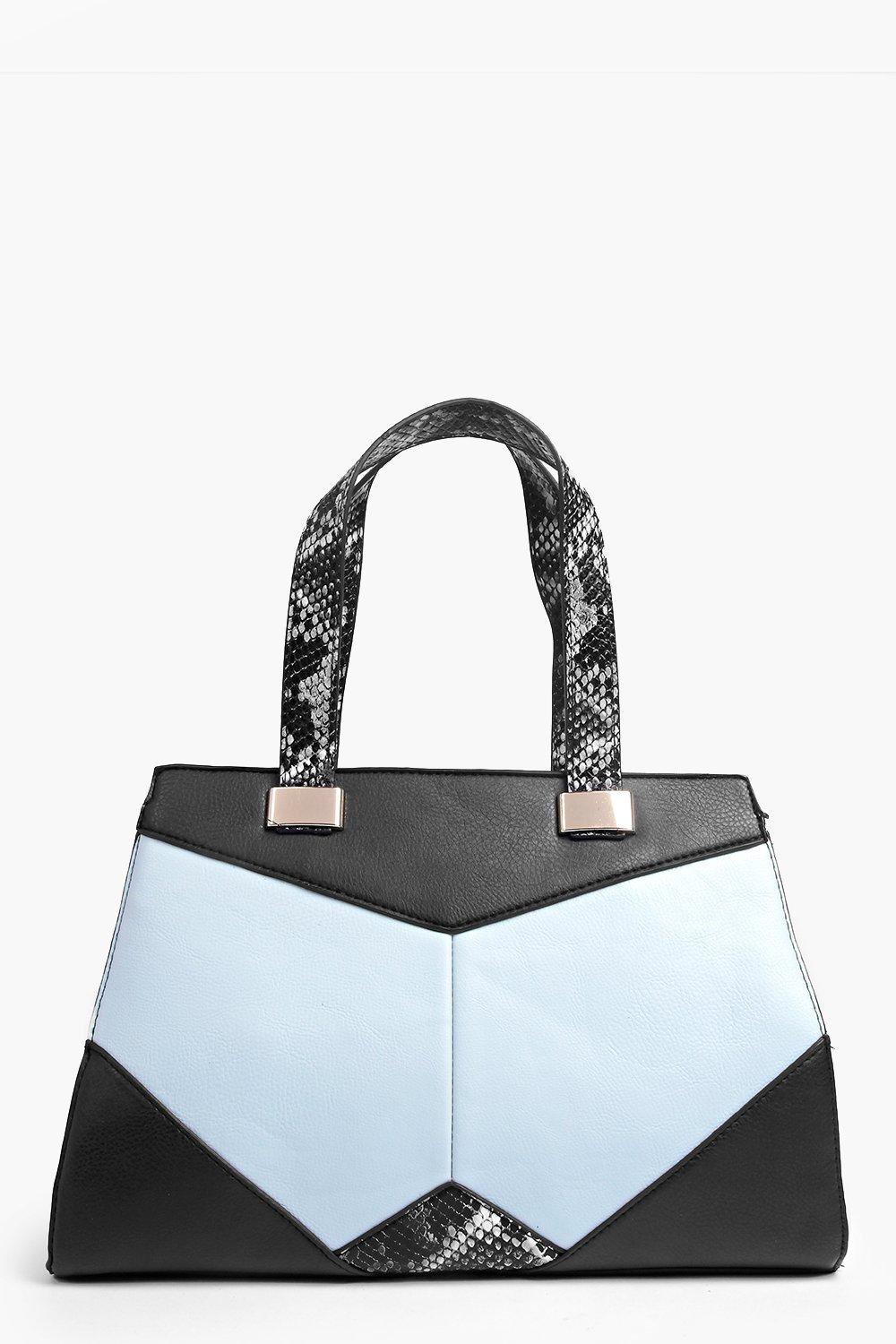 Eva Snake Trim Colour Block Structured Day Bag