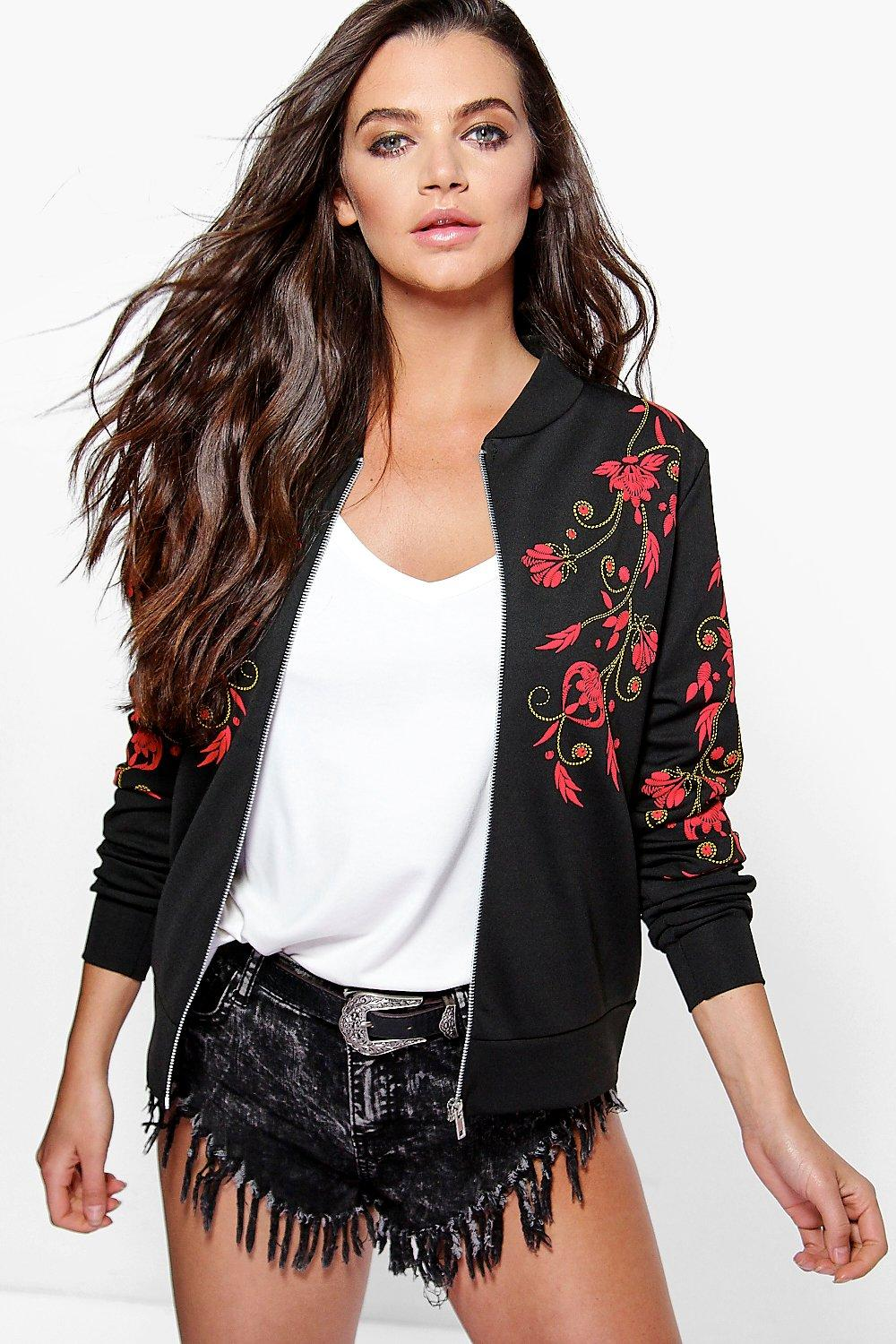 Megan Embroidered Print Bomber