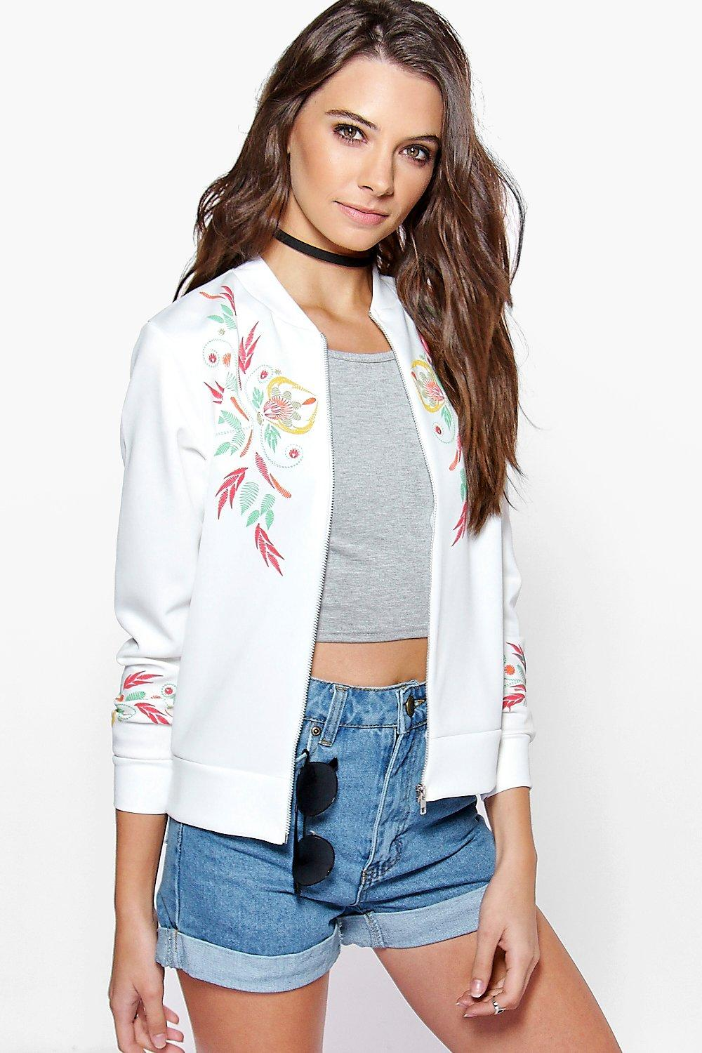 Sophie Embroidered Print Bomber