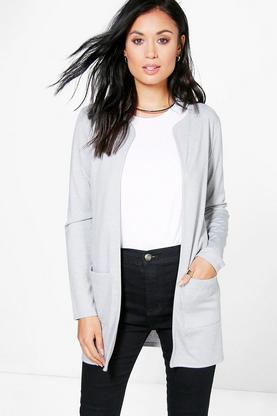 Ella Collarless Pocket Jersey Duster