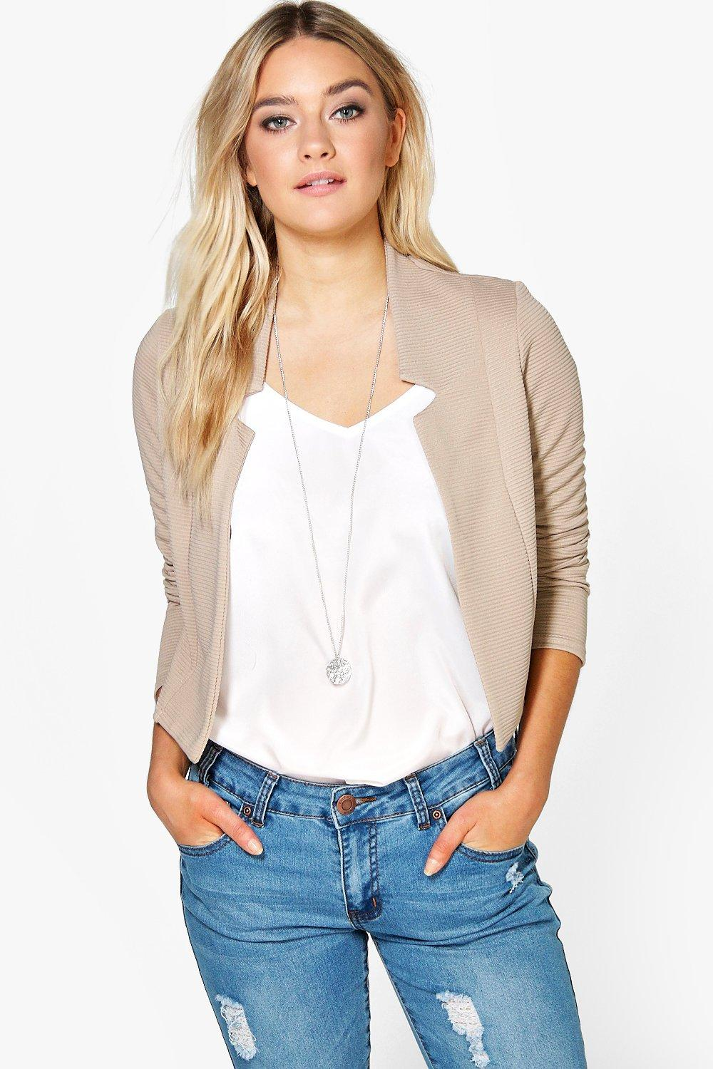 Lacey Rib Notch Crop Blazer