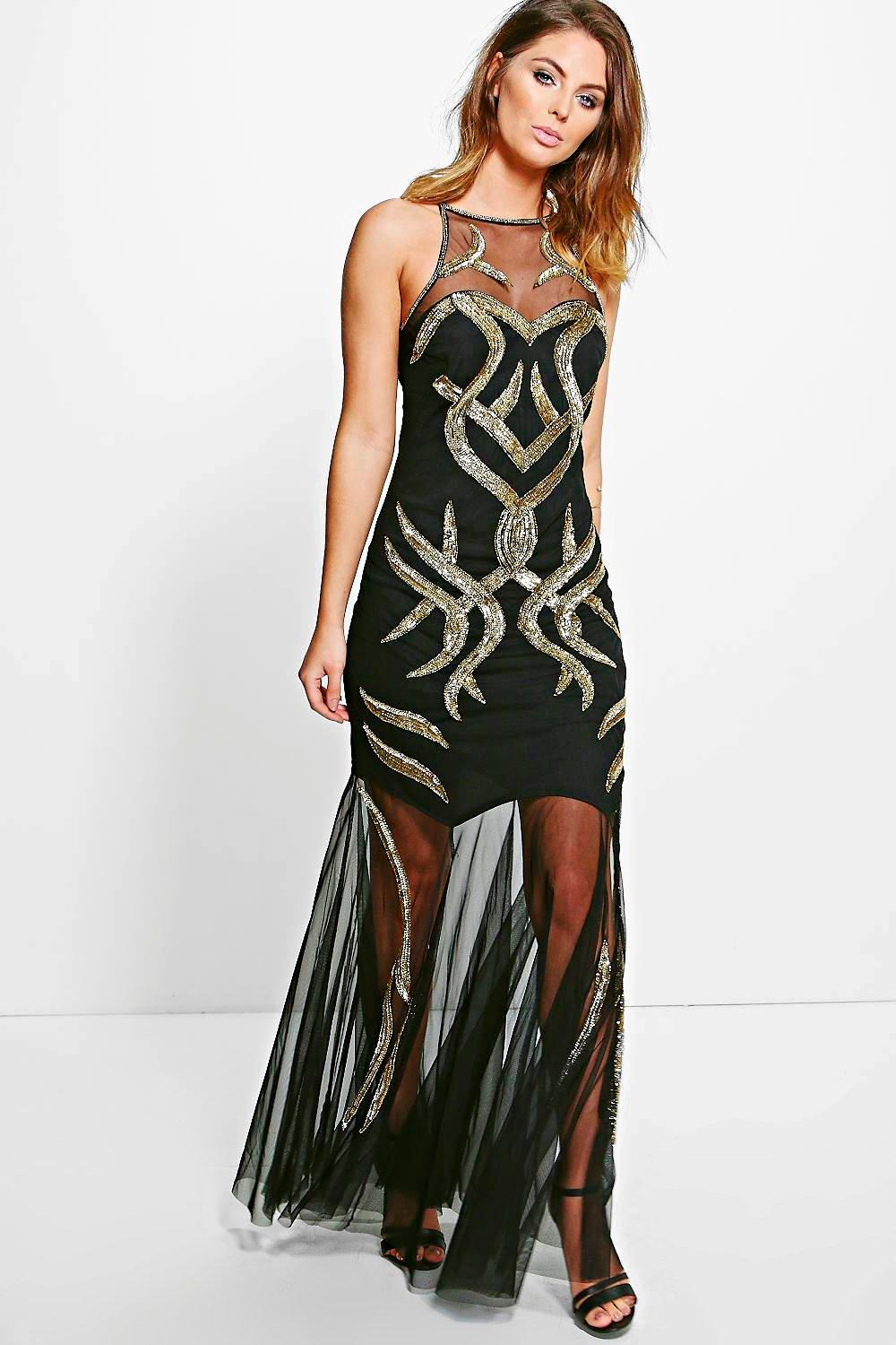 Boutique Dani Geometric Embellished Maxi Dress