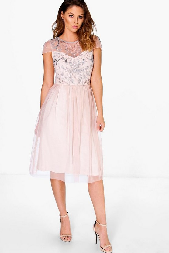 Boutique Chiara Embellished Babydoll Dress