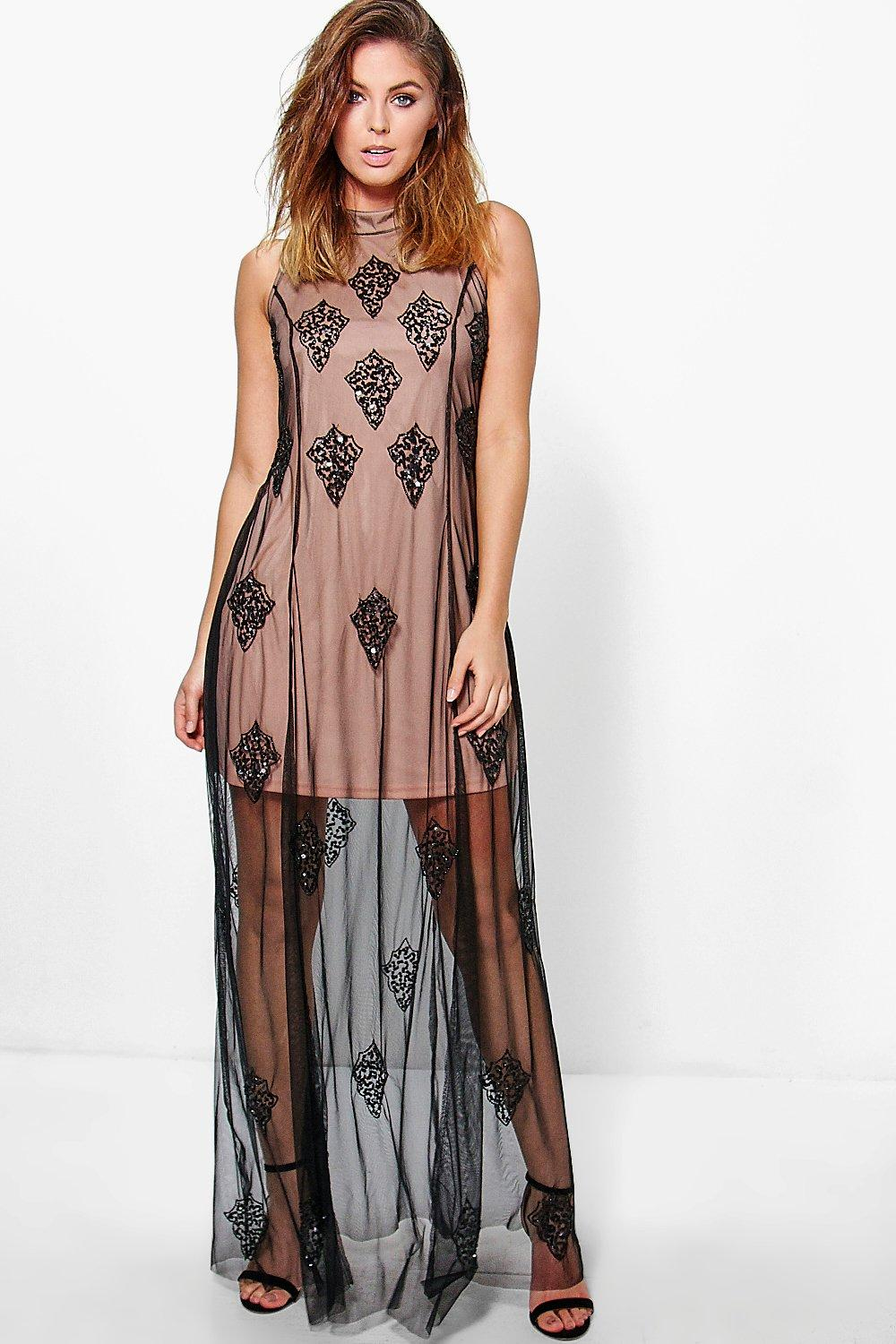 Boutique Jelena High Neck Beaded Maxi Dress