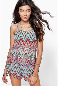 Elsa Print Ladder Side Vest and Short Co-ord Set