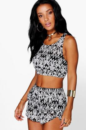 Annie Mono Chiffon Strap Vest And Short Co-ord Set