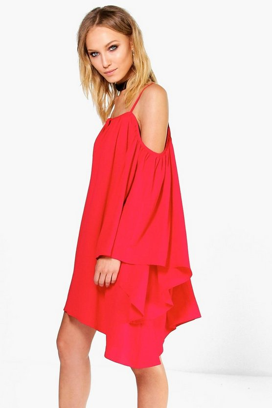 Willow Oriental Bell Sleeve Cold Shoulder Dress