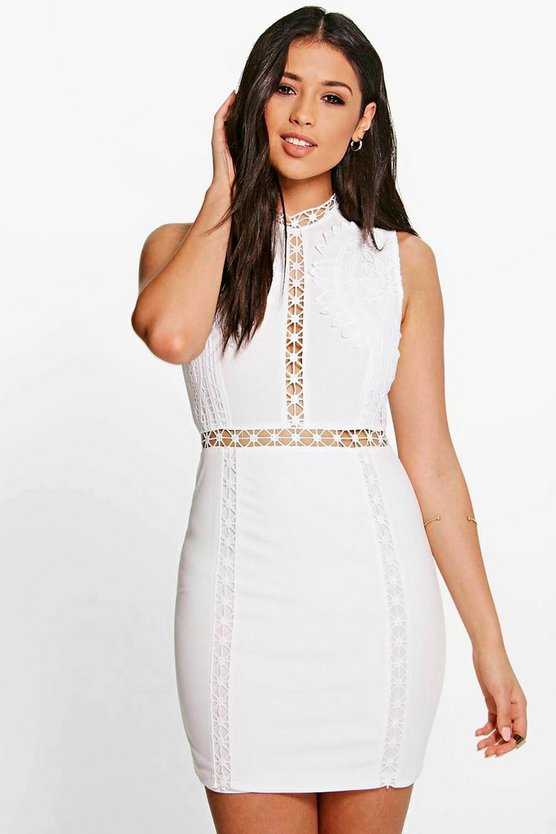 Boutique Ria Crochet Lace Panelled Bodycon Dress