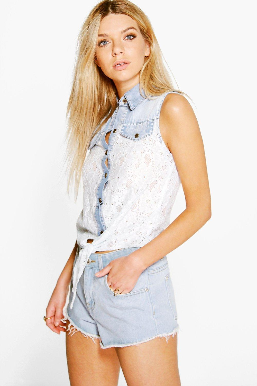 Emma Lace Tie Front Denim Shirt