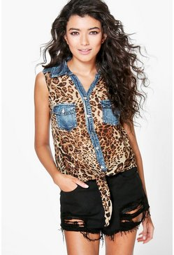 Orla Tiger Print Pocket Tie Front Shirt