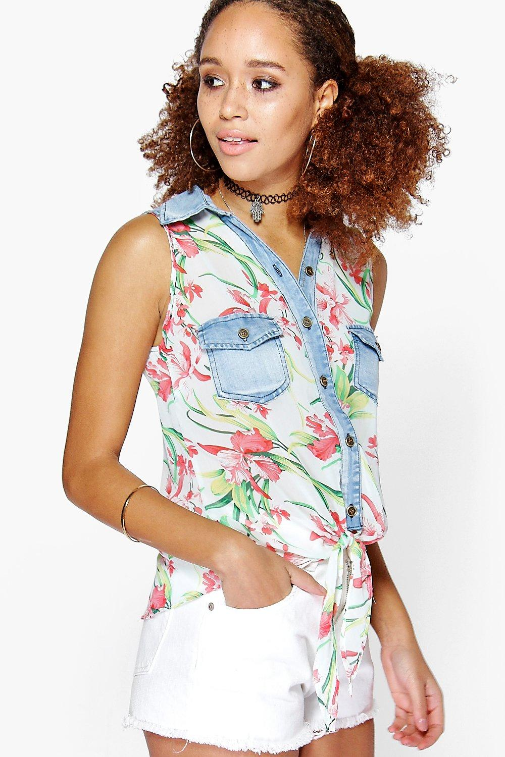 Cara Denim Floral Pocket Tie Shirt