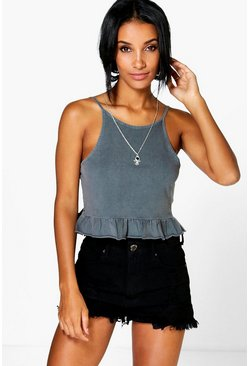 Ava Acid Wash Frill Hem Crop