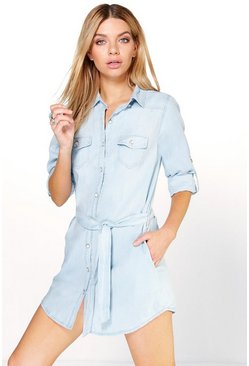 Linda Denim Button Through Shirt Dress