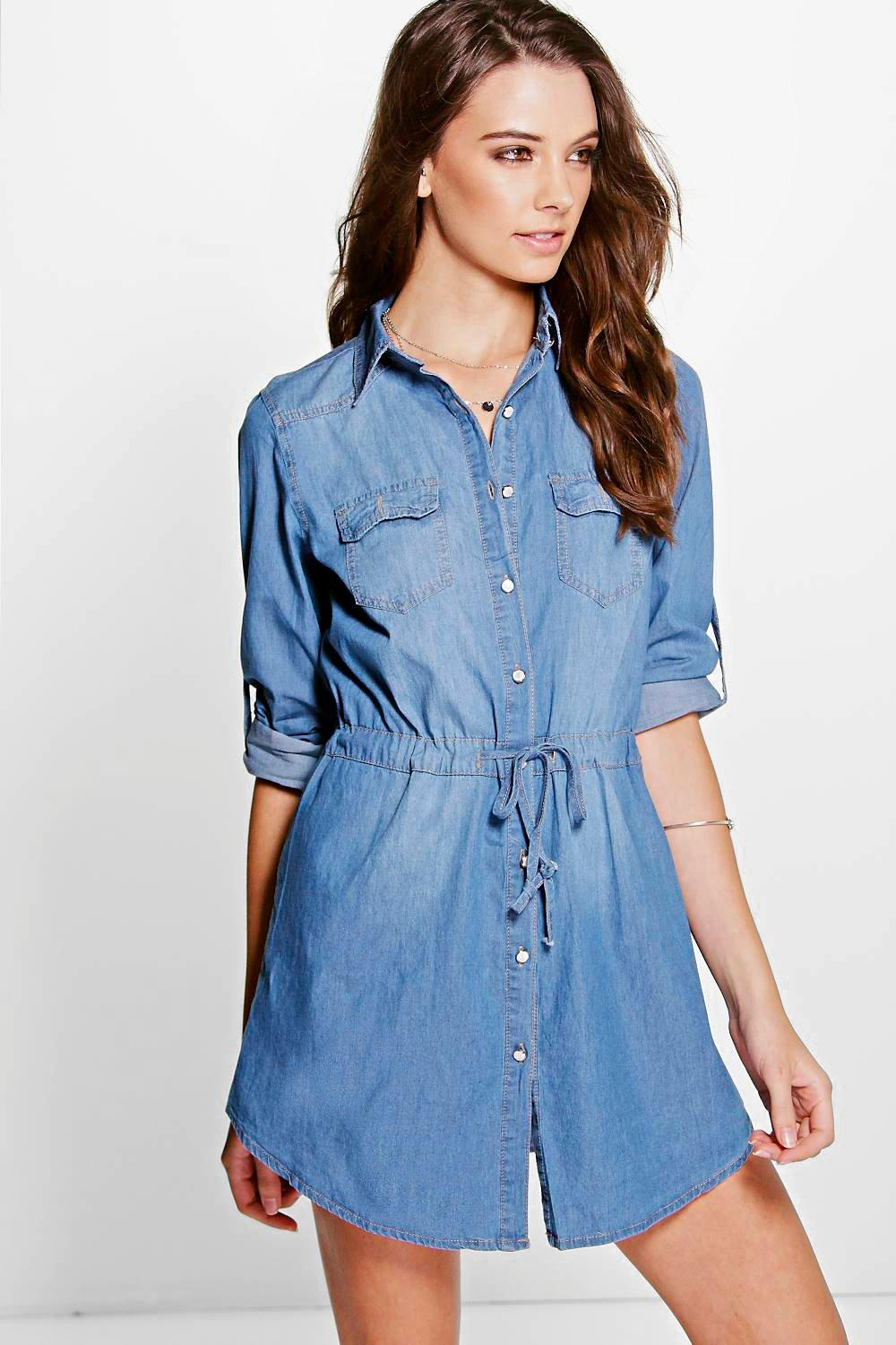 Emma Denim Button Through Shirt Dress