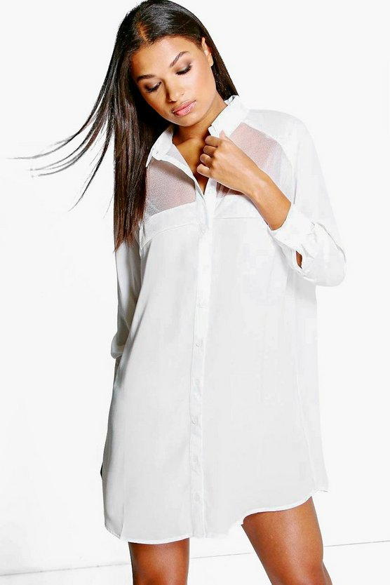 Karrueche Sheer Panelled Shirt Dress