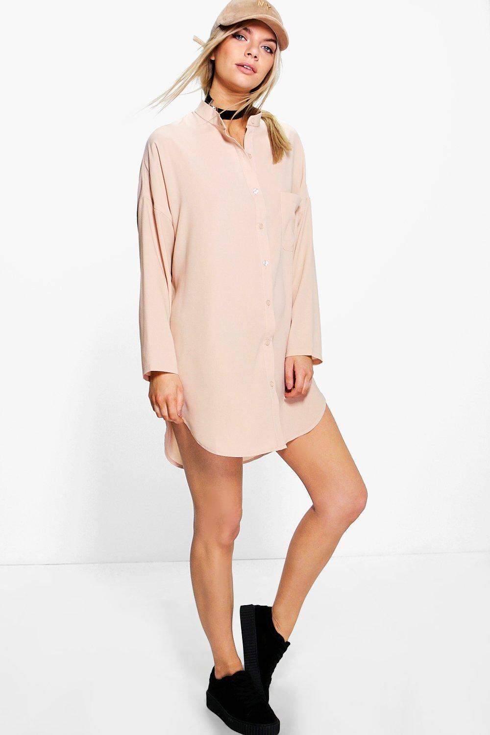 Penelope Collarless Shirt Dress