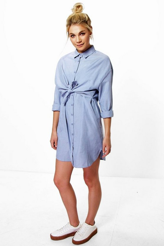 Emmeline Tie Front Shirt Dress