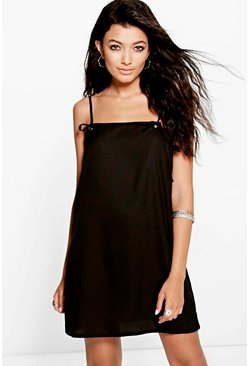 Emrata Tie Strap Eyelet Pinafore Slip Dress