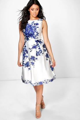 Boutique Dora Porcelain Print Sateen Skater Dress