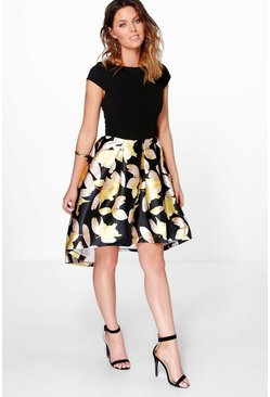 Boutique Dory Floral Sateen Dip Hem Skater Dress
