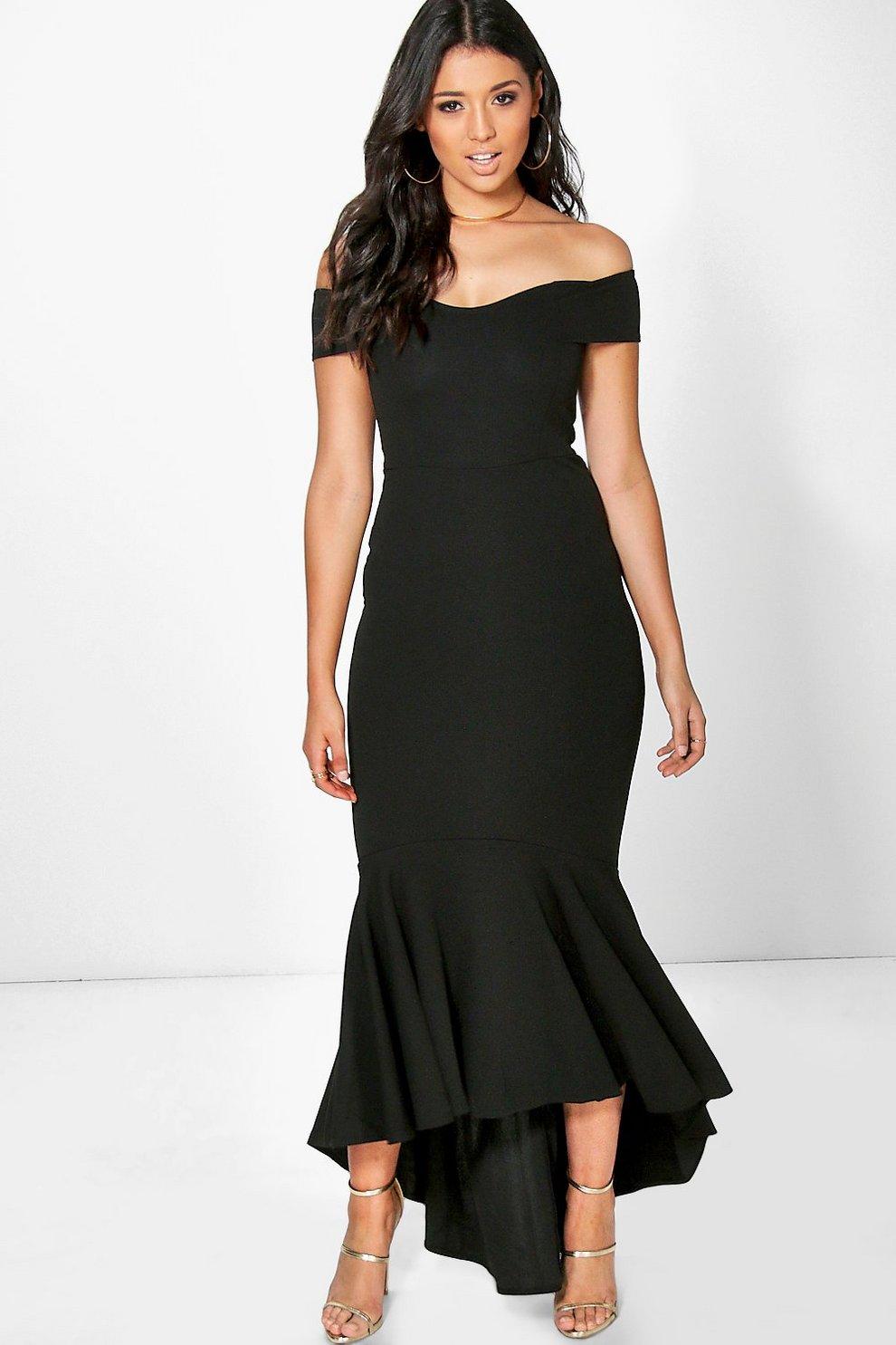 Boutique Margot Open Shoulder Fishtail Maxi Dress