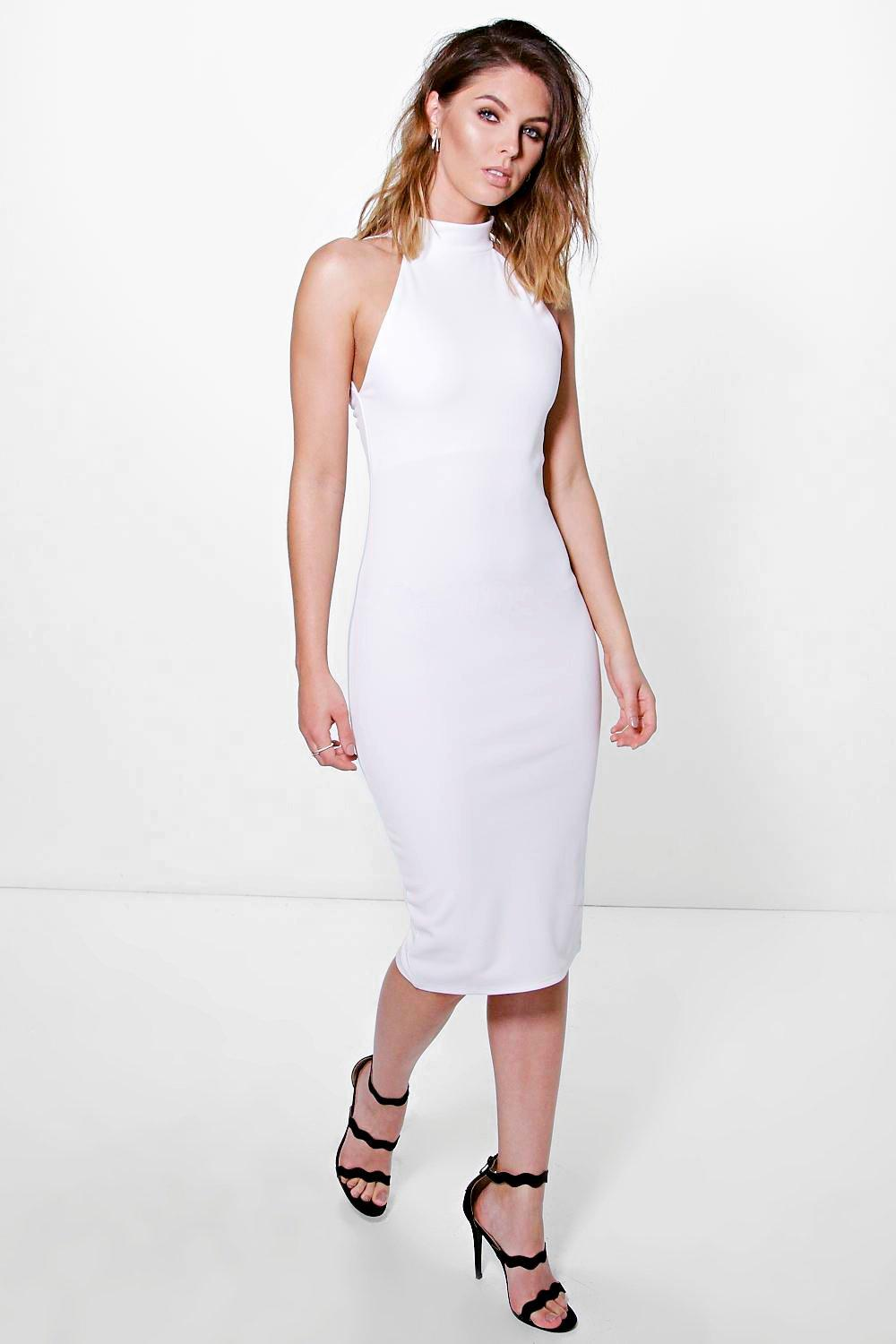 Aria High Neck Detail Midi Dress