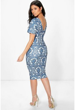 Constance Porcelain Short Sleeve Midi Dress