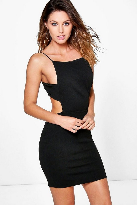 Alina Square Neck Midi Strap Bodycon Dress