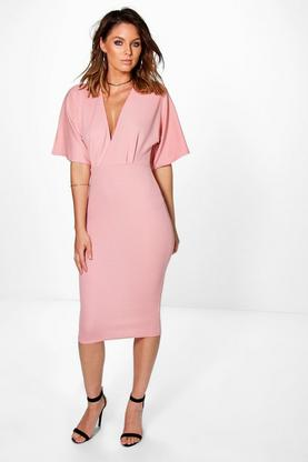 Ozana Textured Pleat Plunge Bodycon Dress