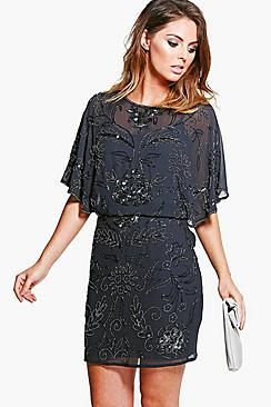 Boutique Effie All Over Beaded Batwing Dress