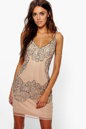 Boutique Arianna Beaded Slip Dress