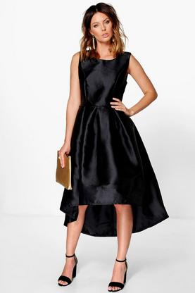 Boutique Lia Sateen Dip Hem Skater Dress