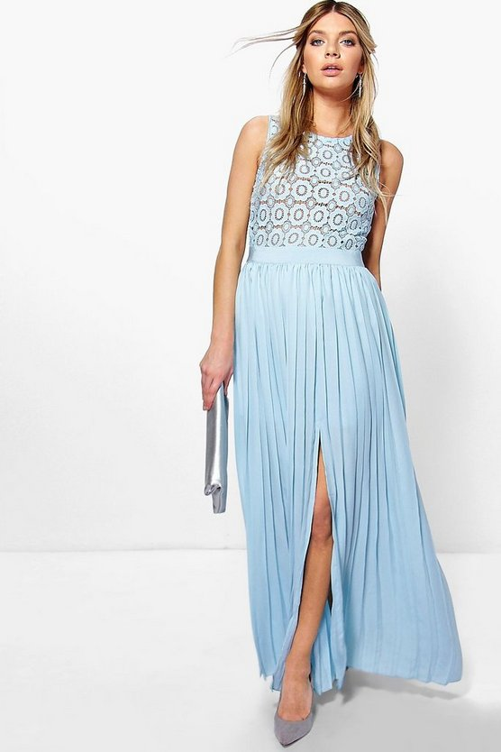 Boutique Cara Lace Top Pleated Maxi Dress
